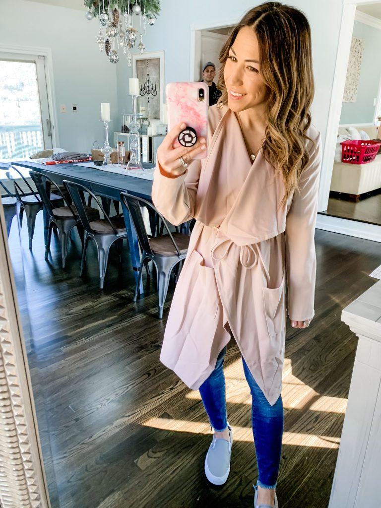 Amazon Haul by top US fashion blog, House of Leo Blog: image of woman wearing Romwe Women's Raw Cut Hem Waterfall Collar Long Sleeve Wrap Trench Pea Coat Cardigan