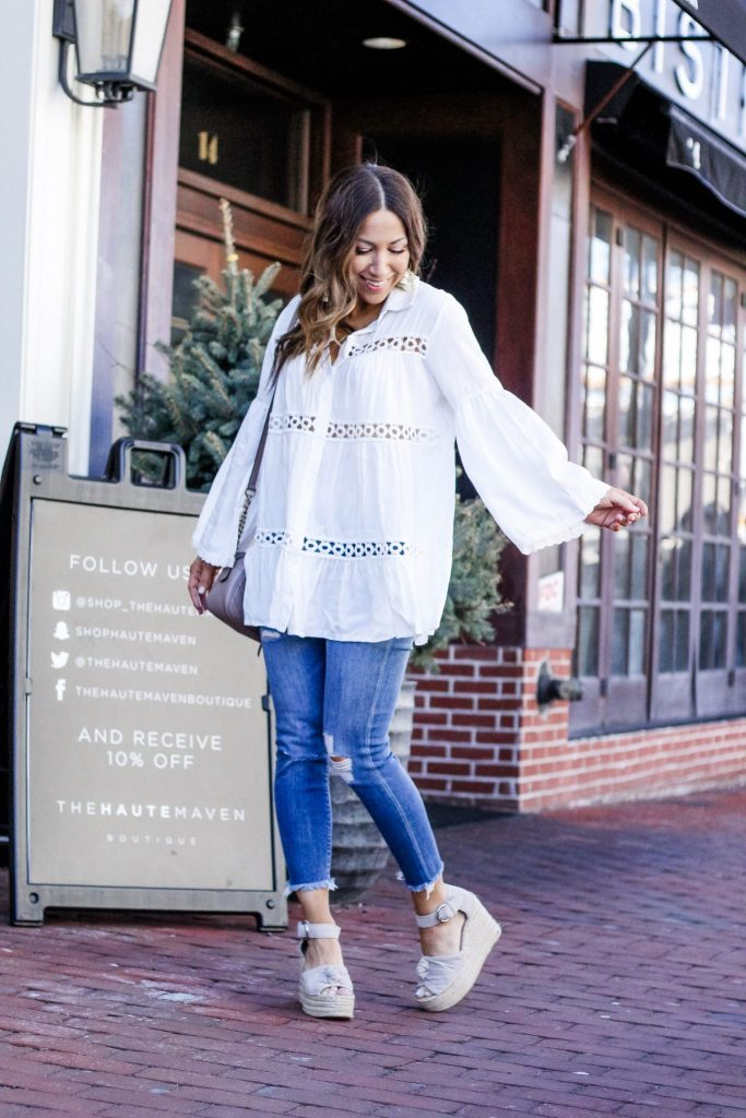 Spring Tops Under $50 From Chicwish by top US fashion blog, House of Leo Blog: image of woman wearing a white crochet tunic and Marc Fisher Anty espadrille sandals