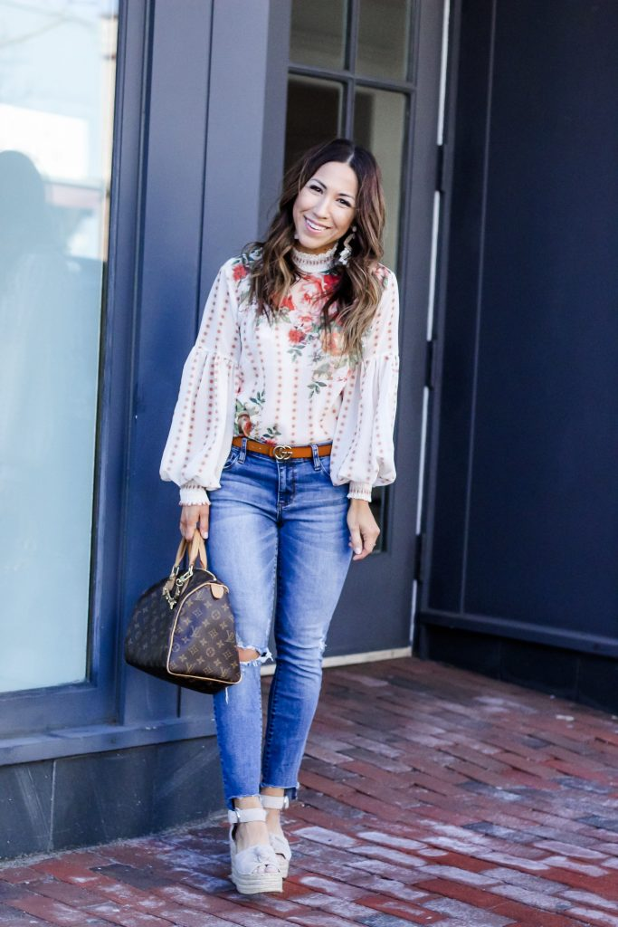 Spring Tops Under $50 From Chicwish by top US fashion blog, House of Leo Blog: image of woman wearing a floral chiffon top