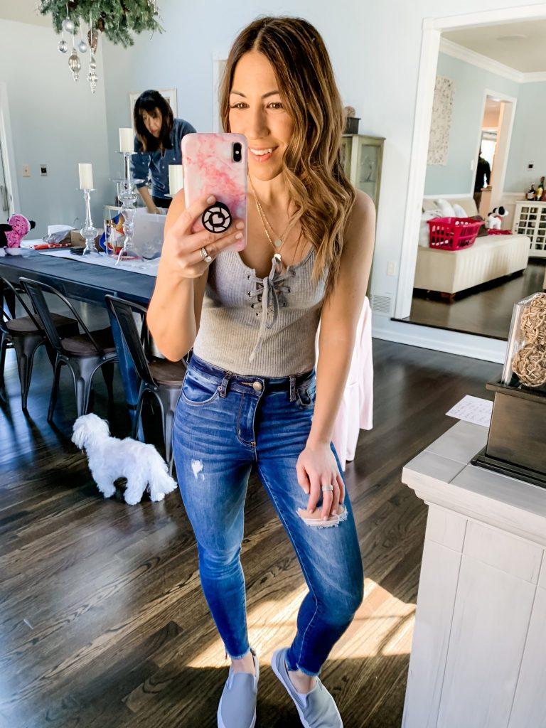 Amazon Haul by top US fashion blog, House of Leo Blog: MAKEMECHIC Women's Sleeveless Lace Up Knit Sexy Leotard Bodysuit