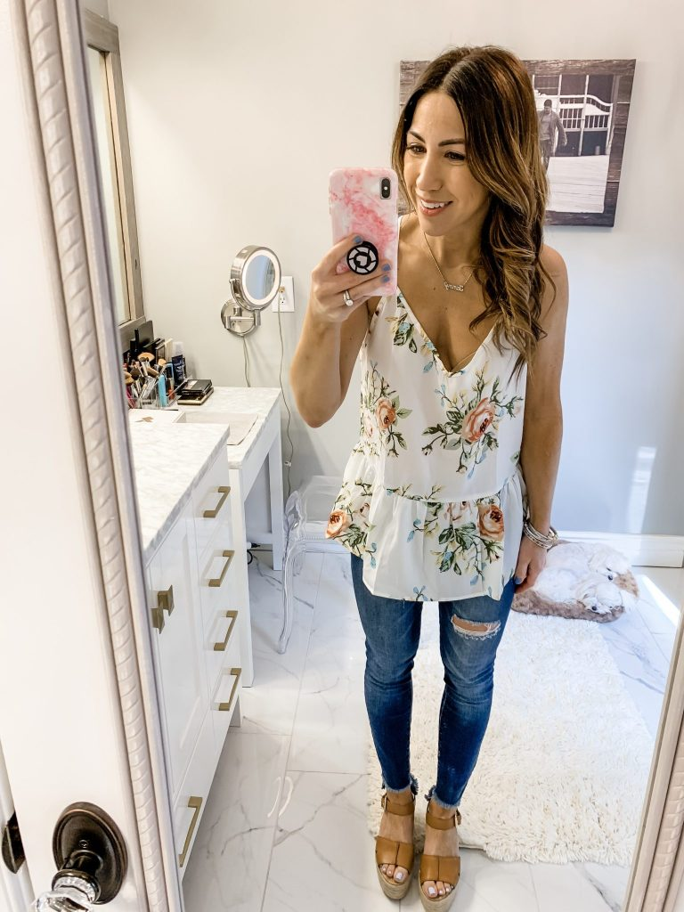 SheIn Haul by top US fashion blog, House of Leo Blog: image of woman wearing Rose Cluster Print Peplum Racerback Cami Top