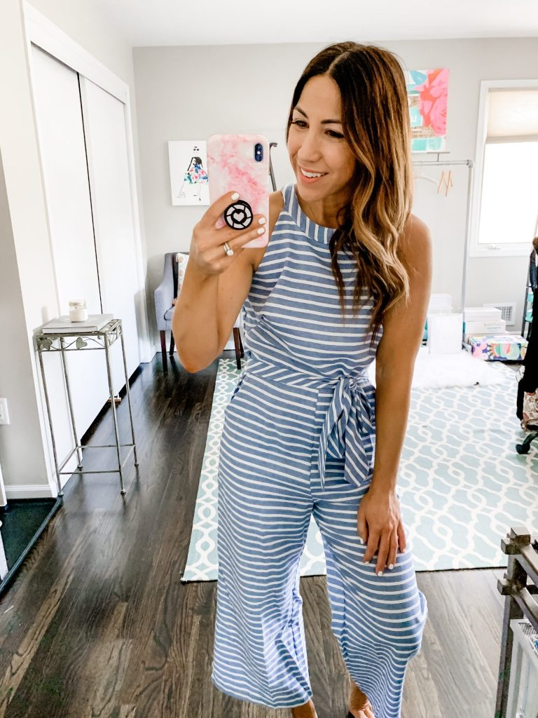 Amazon Haul by top US fashion blog, House of Leo Blog: image of woman wearing PRETTYGARDEN Striped Sleeveless Jumpsuit with Pockets
