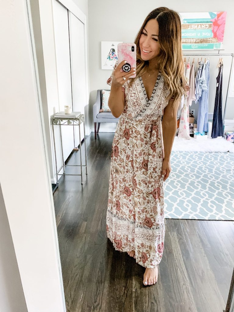 Amazon Haul by top US fashion blog, House of Leo Blog: image of woman wearing PRETTYGARDEN Women's Summer V Neck Wrap Vintage Floral Print Short Sleeve Split Belted Flowy Boho Beach Long Dress