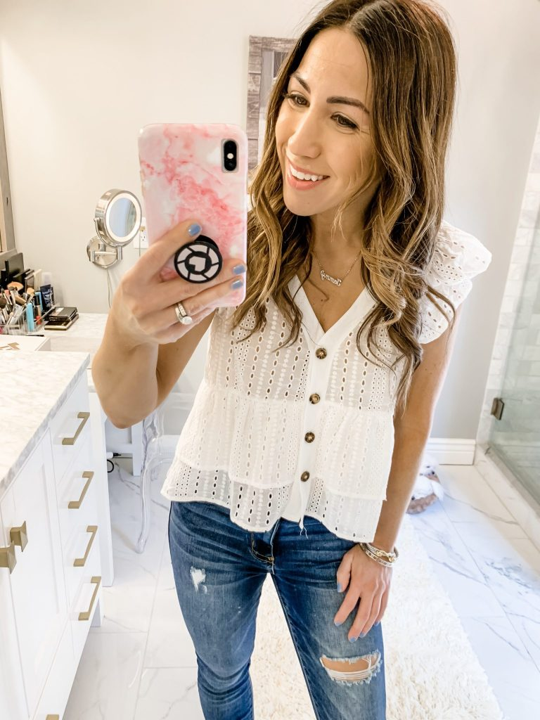 SheIn Haul by top US fashion blog, House of Leo Blog: image of woman wearing Single Breasted Ruffle Sleeve Blouse