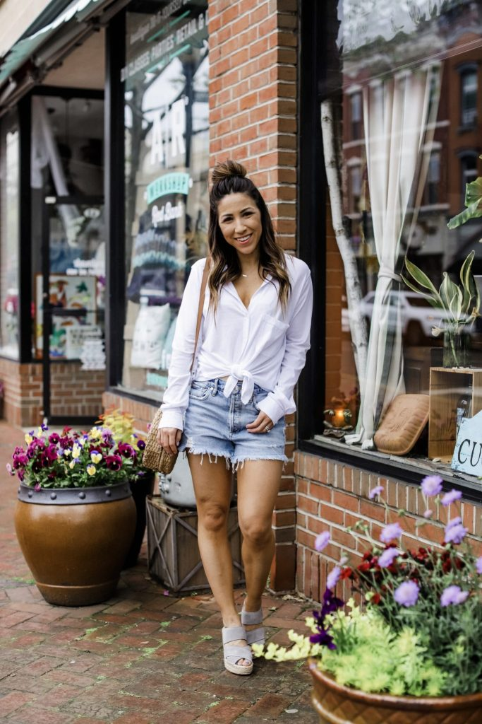 Summer Style With Evereve by top US fashion blog, House of Leo Blog: image of woman wearing Bobi white button down top, Agolde parker denim shorts, Kenneth Cole wedges