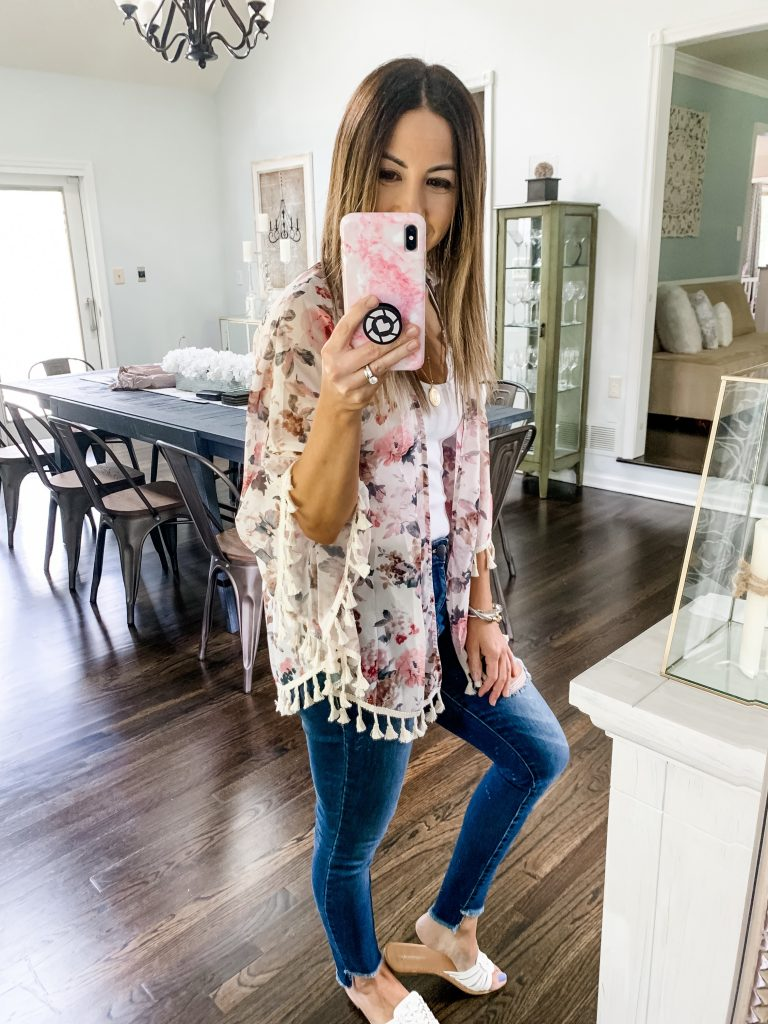SheIn Haul by top US fashion blog, House of Leo Blog: image of woman wearing floral tassel hem kimono