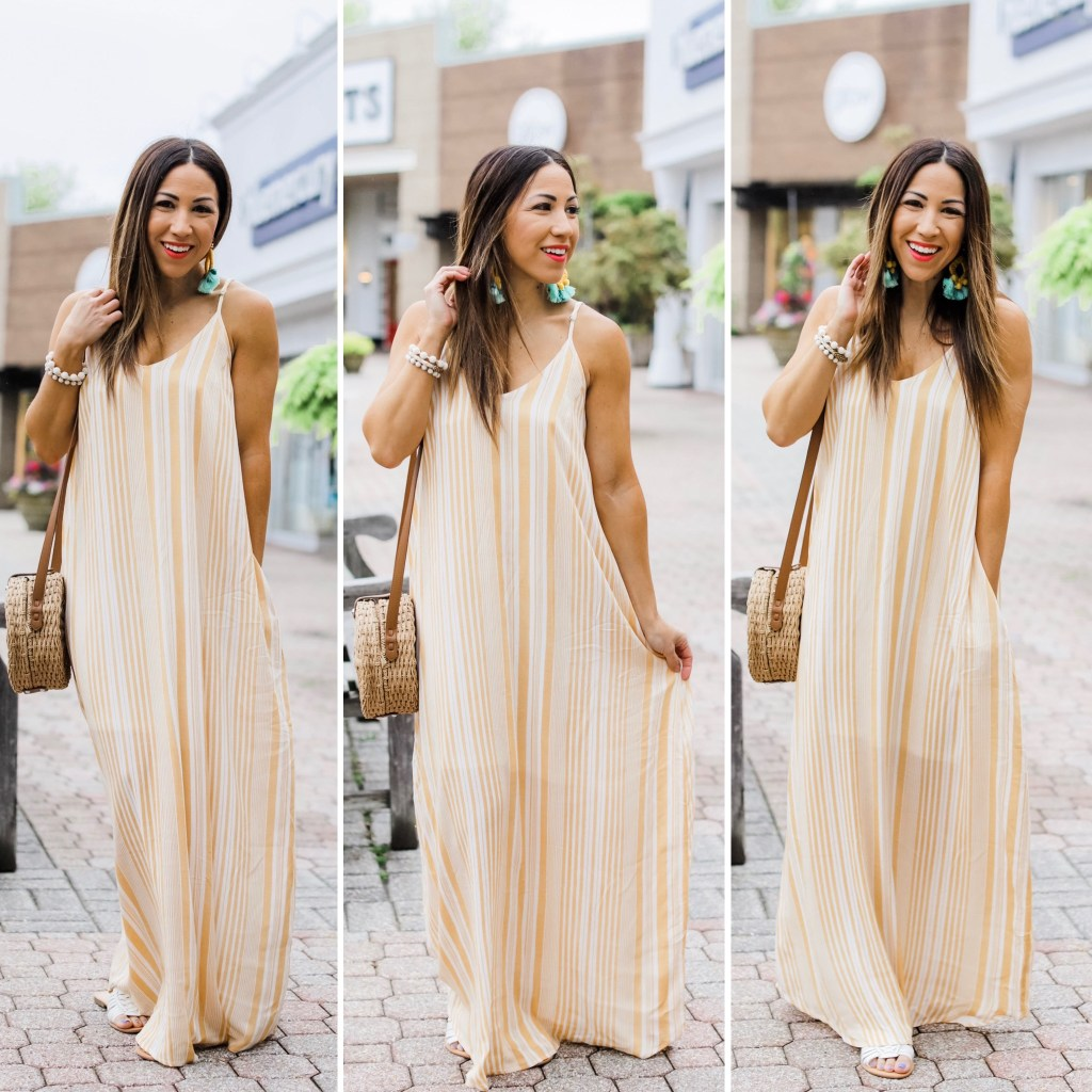 Easy Spring and Summer Outfits From Red Dress Boutique by top US fashion blog, House of Leo Blog: image of woman wearing a yellow maxi dress