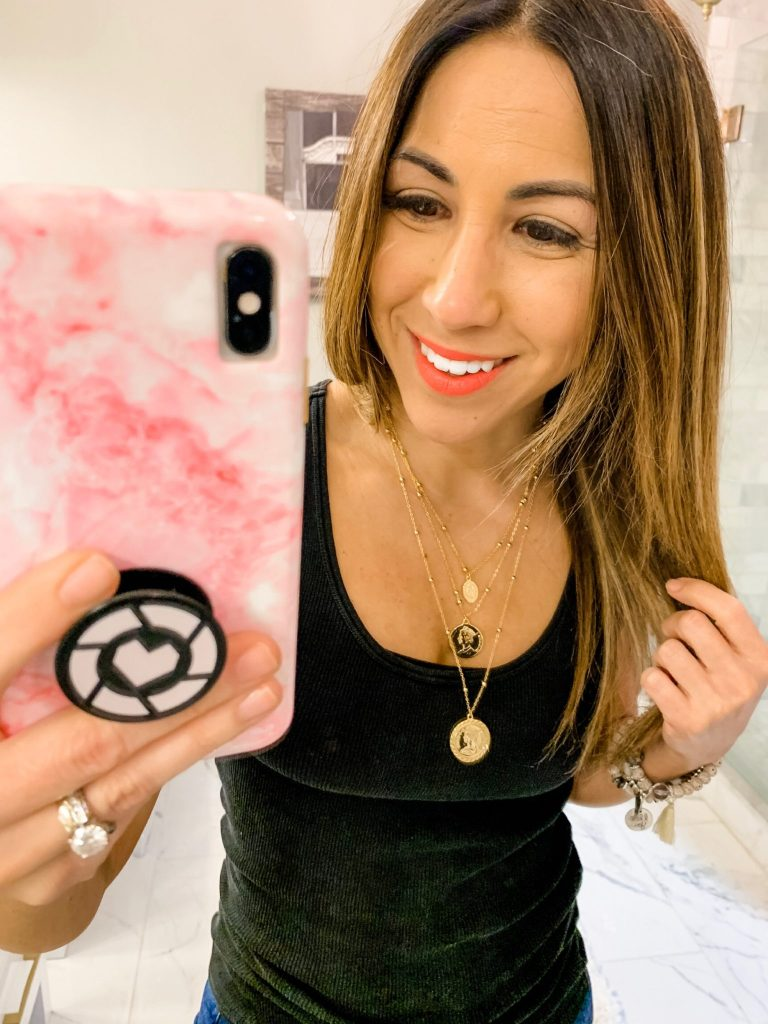 Amazon Haul by top US fashion blog, House of Leo Blog: image of woman wearing ACC Planet Canadian Coin Necklace 18K Gold