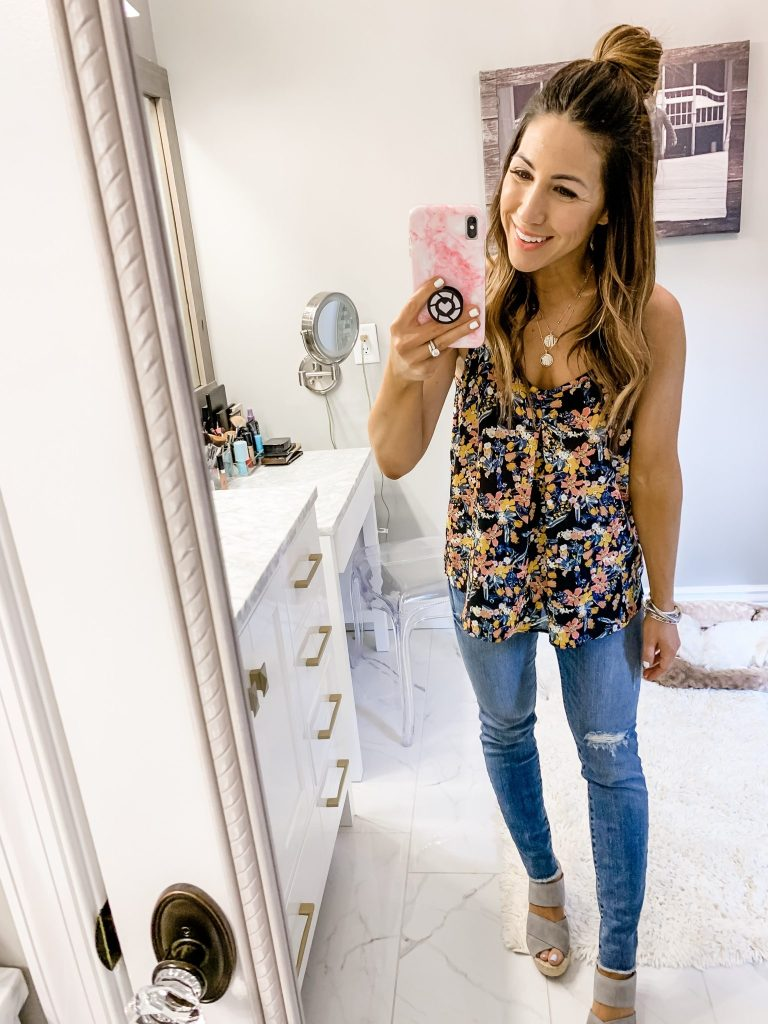 Massive Spring Instagram Roundup by top US fashion blog, House of Leo Blog: image of woman wearing floral cami from Evereve