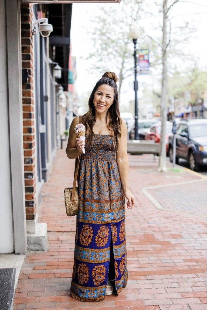 Evereve Mother's Day Sale by top US fashion blog, House of Leo Blog: image of woman wearing Raga maxi dress