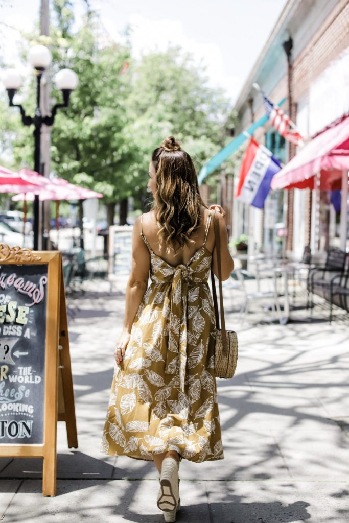 Morning Lavender Summer Pieces by top US fashion blog, House of Leo Blog: image of woman wearing Reya dress, mustard tropical cami dress and Marc Fisher Adalyn espadrilles