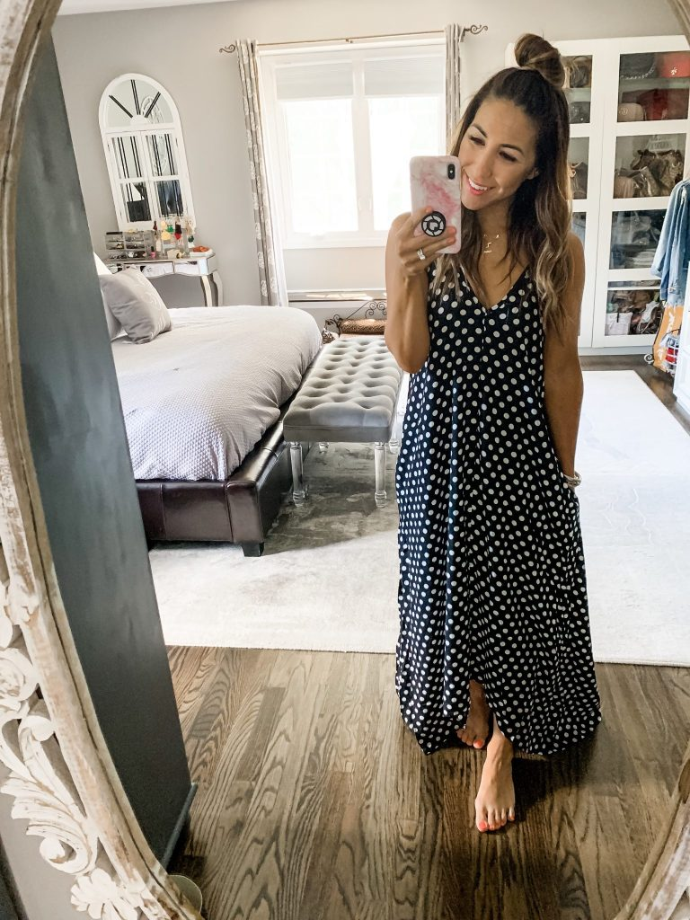 Amazon Haul June by top US fashion blog, House of Leo Blog: image of LILBETTER polka dot maxi dress