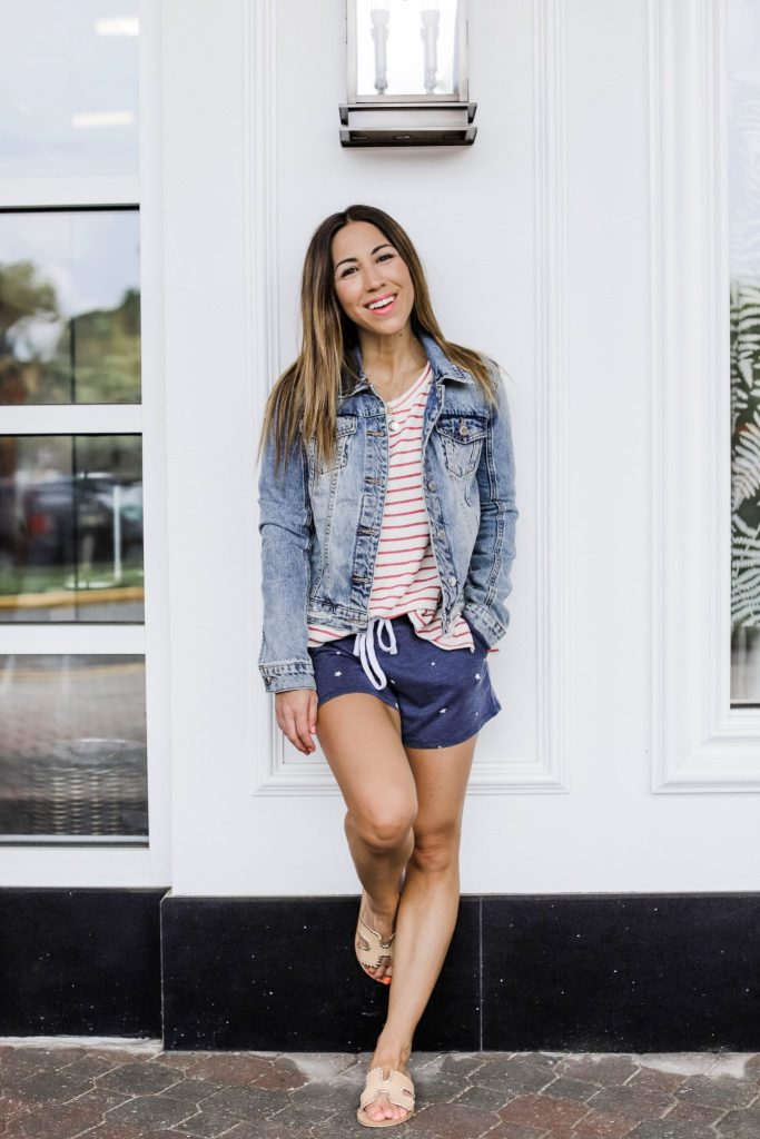 Evereve 4th of July Sale by top US fashion blog, House of Leo Blog: image of woman wearing red and white striped sweater and zsupply star shorts and Blank NYC distressed denim jacket