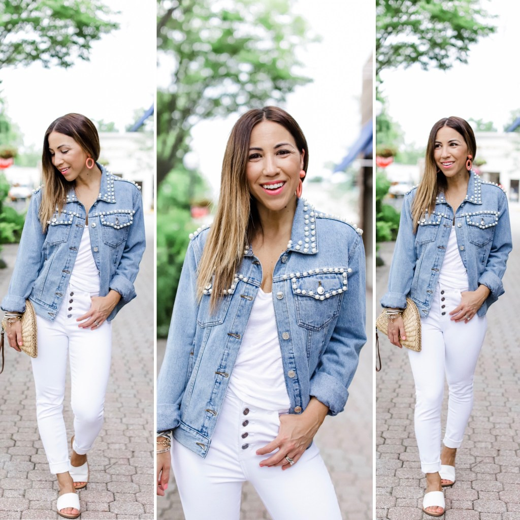 3 Gorgeous Pieces From Paulita Carlotta by top US fashion blog, House of Leo Blog: image of woman wearing pearl denim jacket and white denim jeans