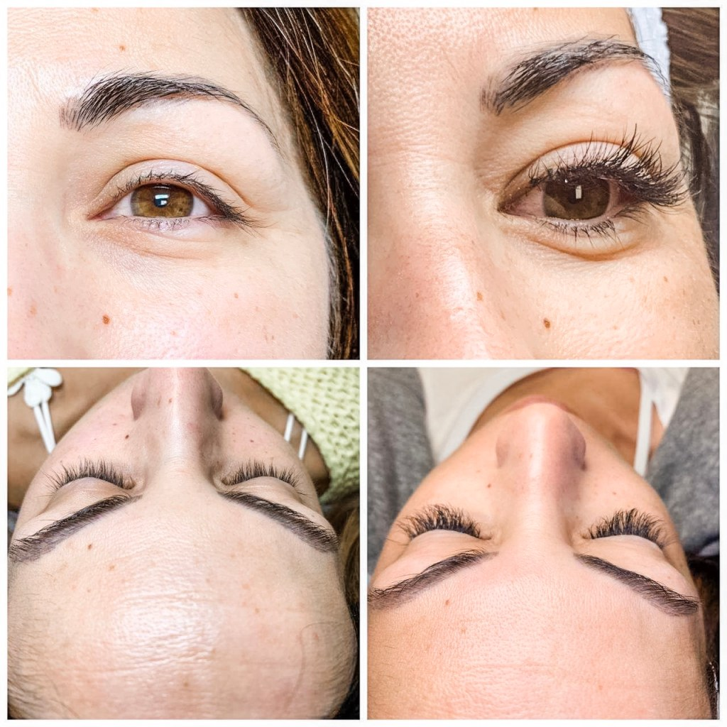 Lash Extensions FAQs by top US beauty blog, House of Leo Blog: image of before and after of lash extensions