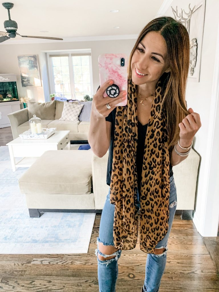 Amazon Haul July by top US fashion blog, House of Leo Blog: image of woman wearing leopard silk scarf