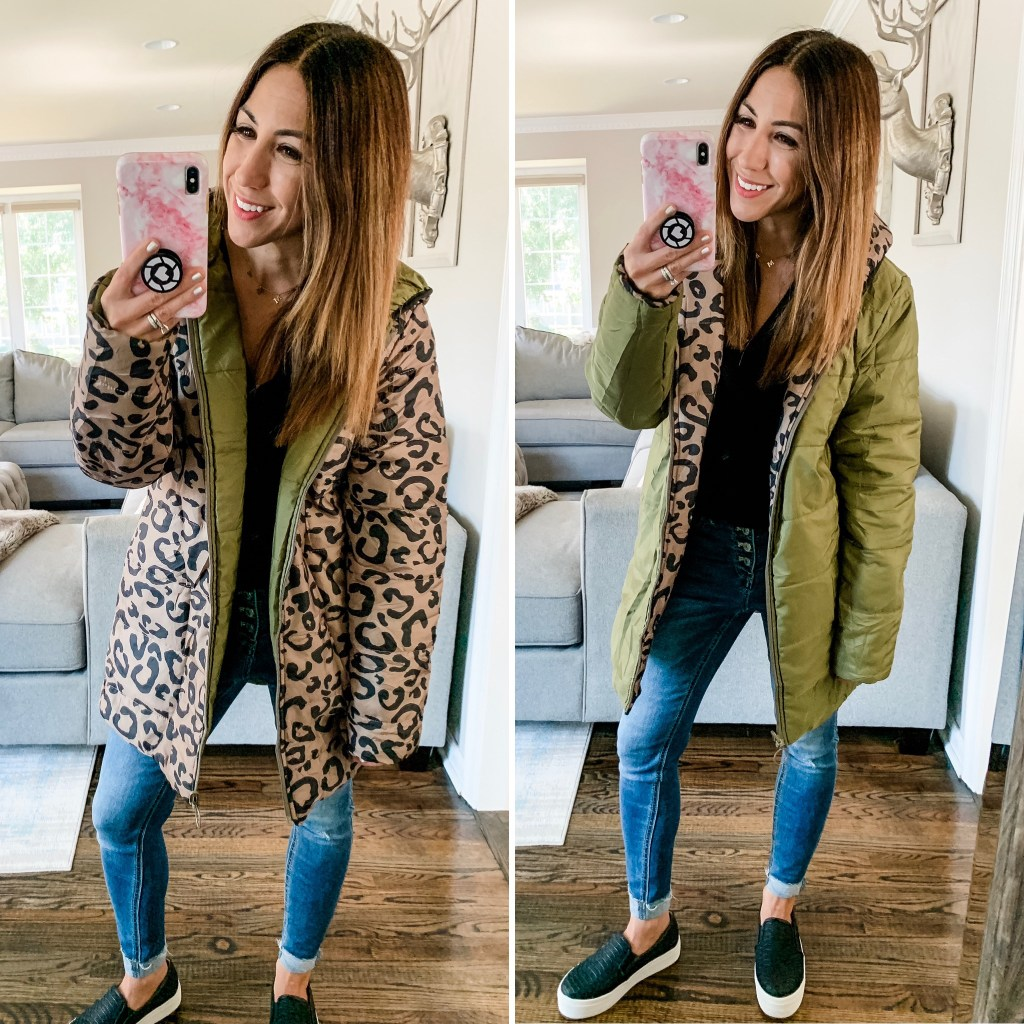 Amazon Haul September by top US fashion blog, House of Leo Blog: image of woman wearing leopard and army green reversible water resistant coat