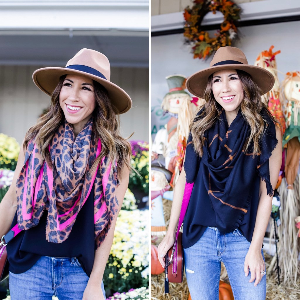 Early Fall Instagram Roundup by top US fashion blog, House of Leo Blog: image of woman wearing leopard and black scarf from Express and tan fedora hat