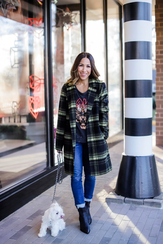 Holiday Outfit Ideas From Evereve by top US fashion blog, House of Leo Blog: image of woman wearing black and yellow plaid coat