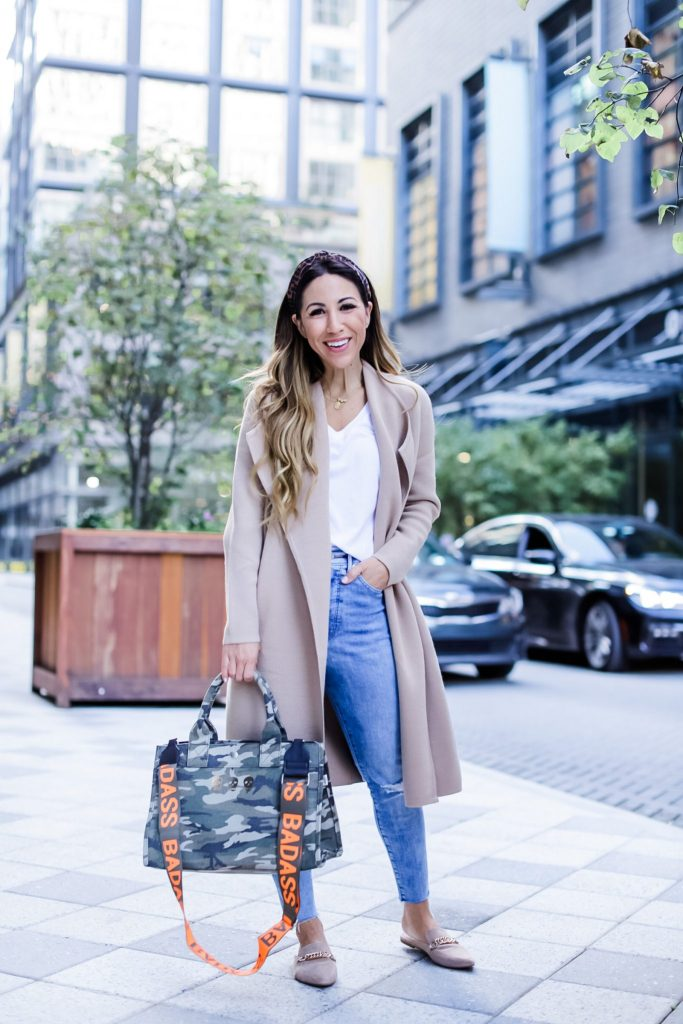 Neutral Coats Under $100 by top US fashion blog, House of Leo Blog: neutral coats under $100, image of woman wearing sweater coat and camo crossbody bag