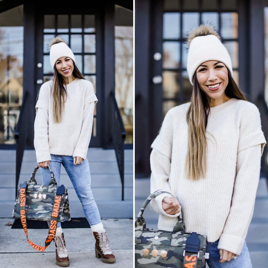 November Finds From Express by top US fashion blog, House of Leo Blog: November finds from Express, image of camo crossbody tote and ivory sweater