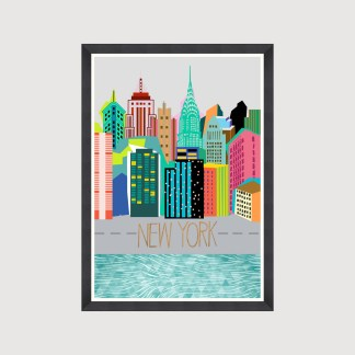 New York Graphic Art Print Framed