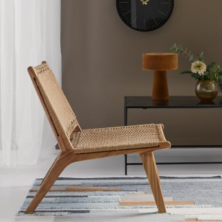 Midcentury rope seat lounge chair