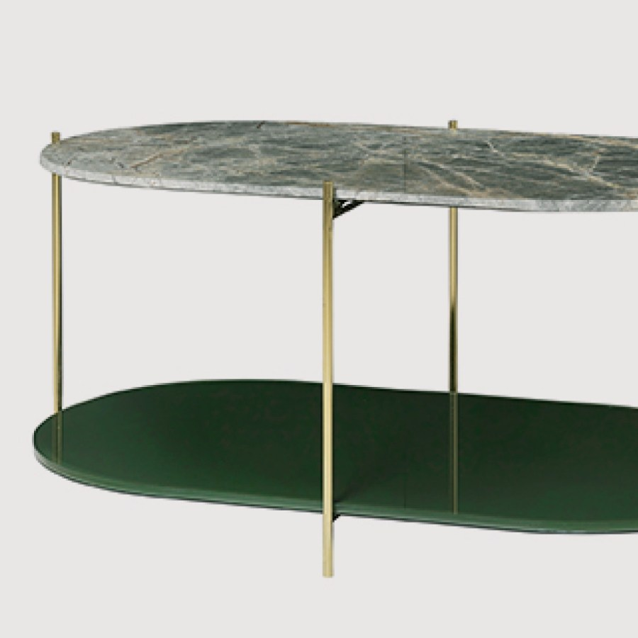 Siff Oval Marble Coffee Table – Forest Green gallery image