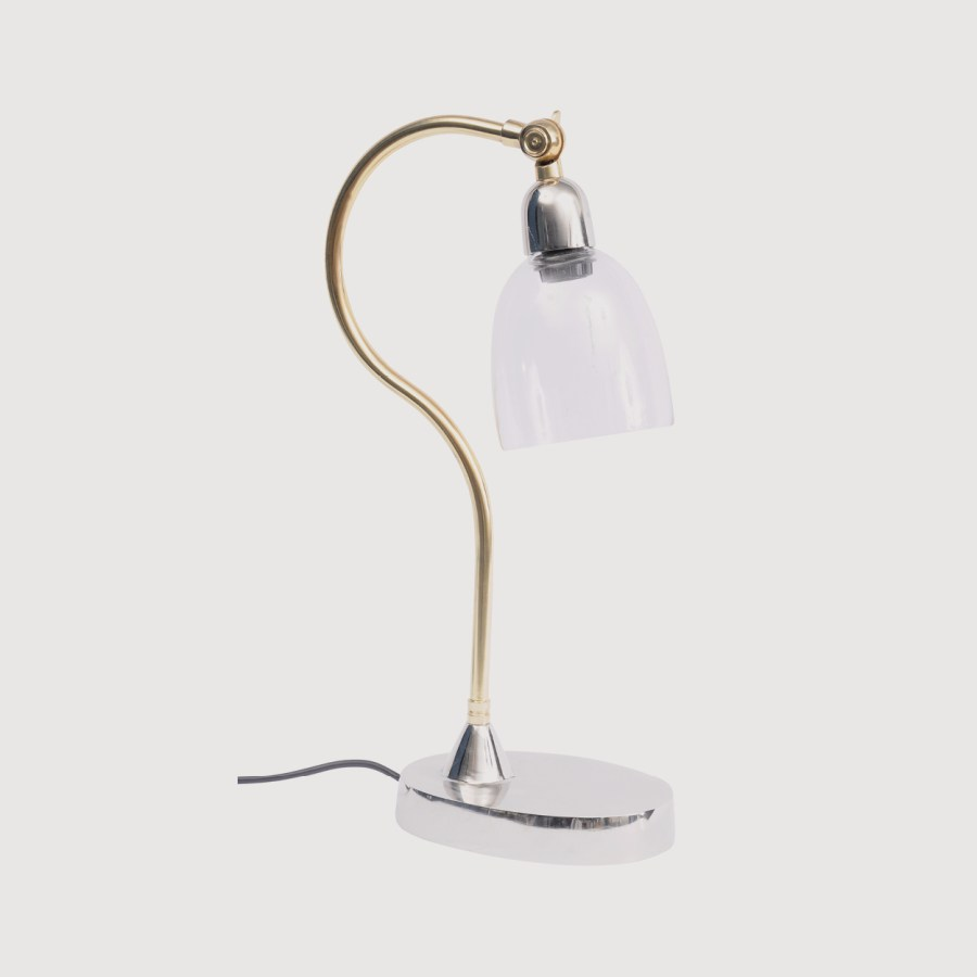 Enza Nickel and Glass Curved Desk Lamp gallery image
