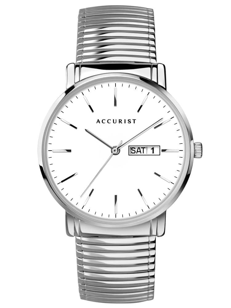 Accurist Mens Classic White Day Date Dial Expandable