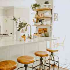 Fall Kitchen Decor Amish Island Minimalist House On Longwood Lane With Neutral Pumpkins Open Shelving In A White