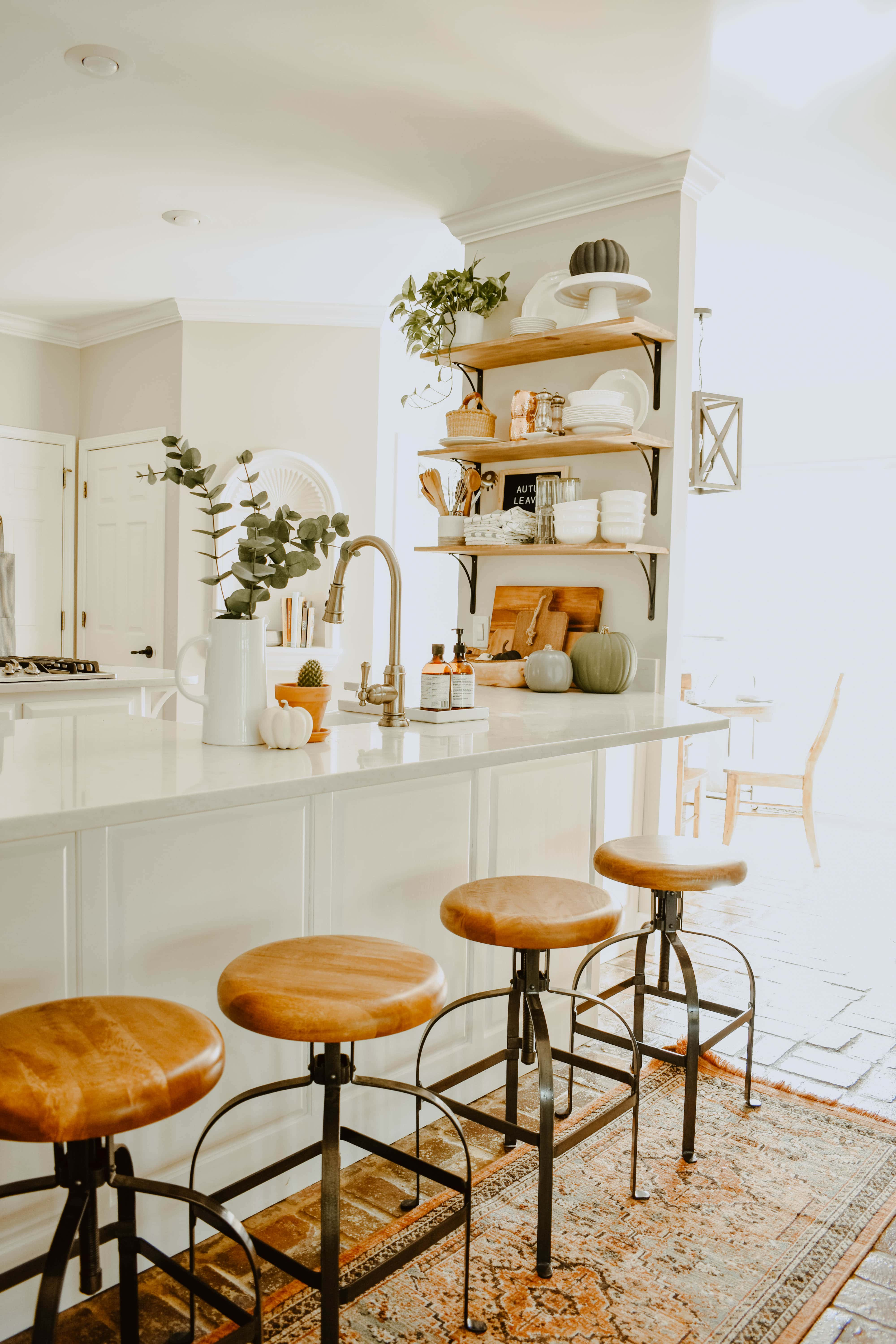 fall kitchen decor outdoor store minimalist house on longwood lane with neutral pumpkins open shelving in a white