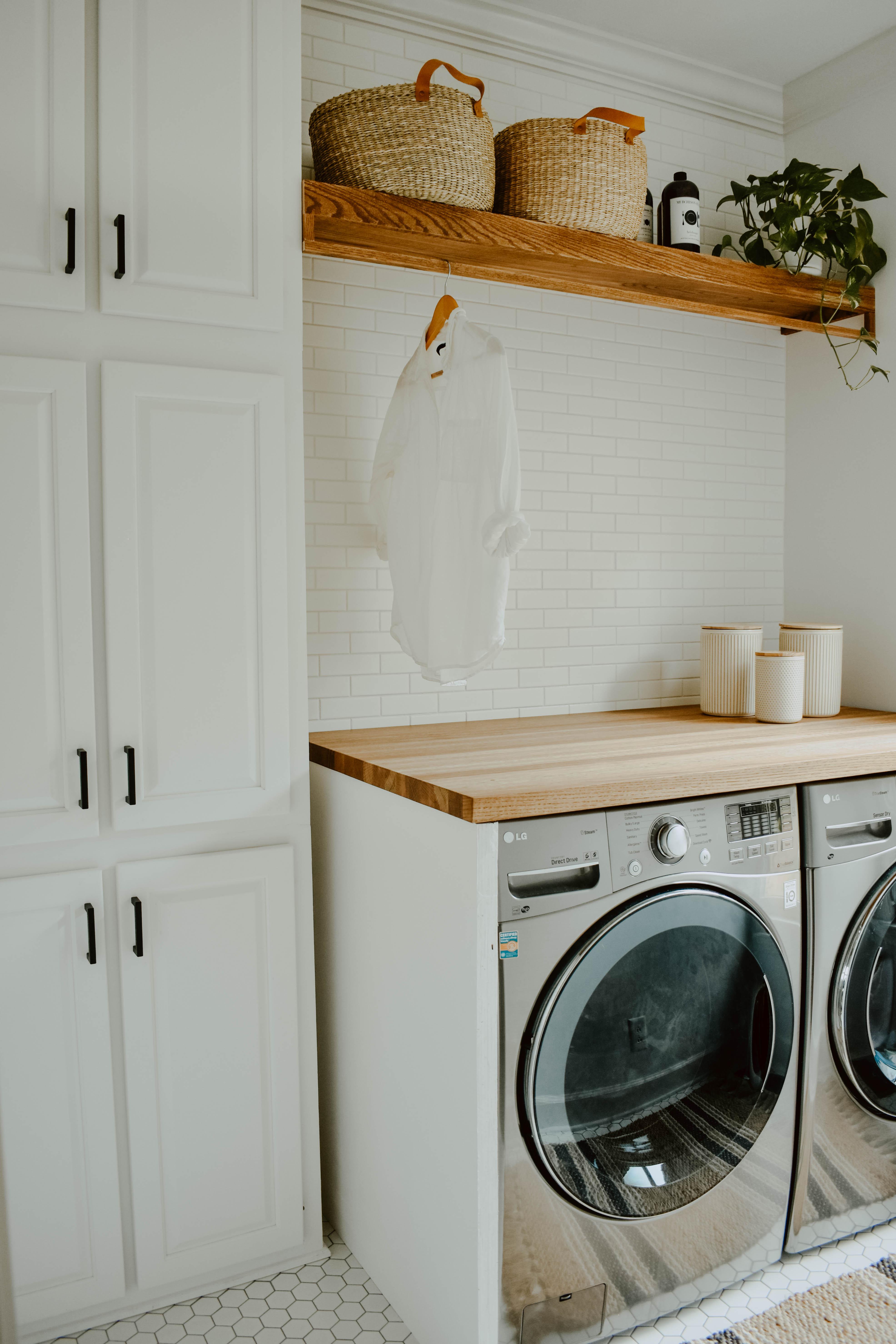 Neutral Laundry Room Remodel   House On Longwood Lane