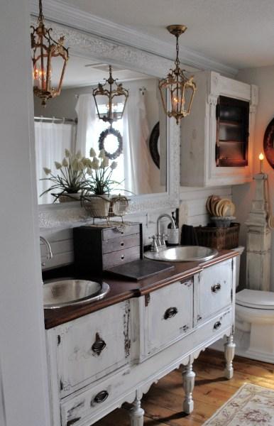 Bathroom Reveal lighting and vanity