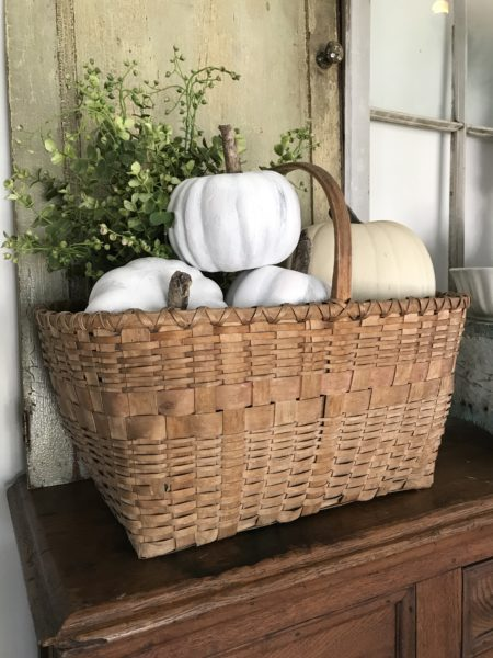 Vintage picnic basket with white pumpkins and greenery - House on Winchester