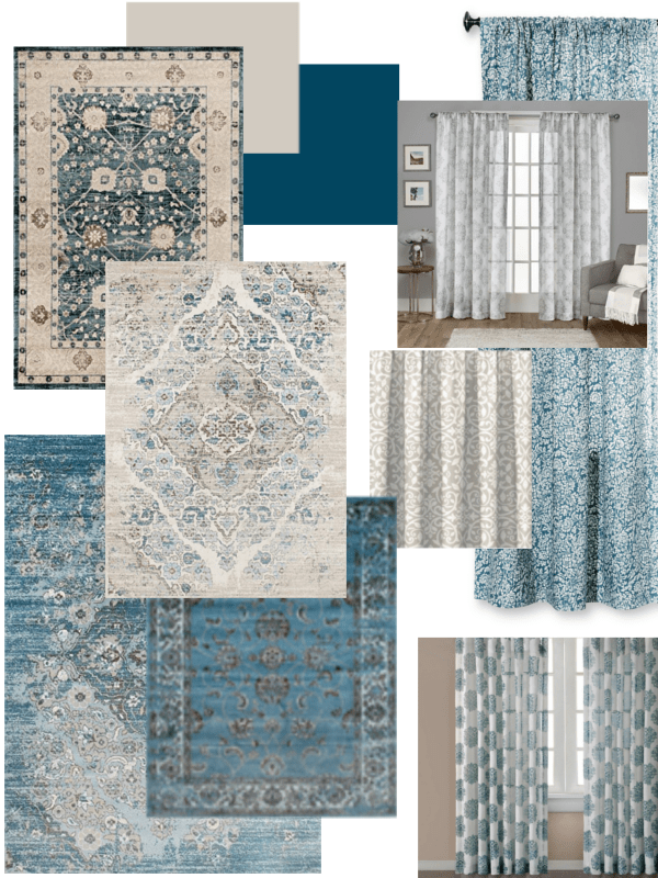 Design Board for Client - blue, gray, taupe - House on Winchester