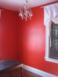 My Small Home Office Painted a Bright Red Color