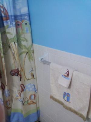 Ocean Blue Color Walls in Our Beach Themed Bathroom