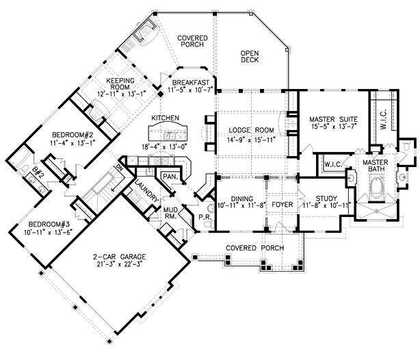 Mountain Rustic Plan: 2,685 Square Feet, 3 Bedrooms, 2.5