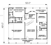 Ranch Plan: 1,500 Square Feet, 3 Bedrooms, 2 Bathrooms ...
