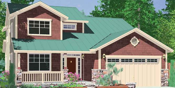 10075 40 Ft Wide Narrow Lot House Plan W Master On The Main Floor