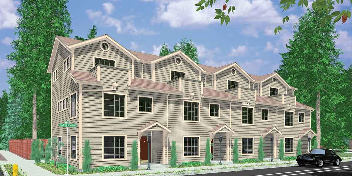 House Plans for Sale  FourPlex 4 Plex QuadPlex Plans  Bruinier  Associates