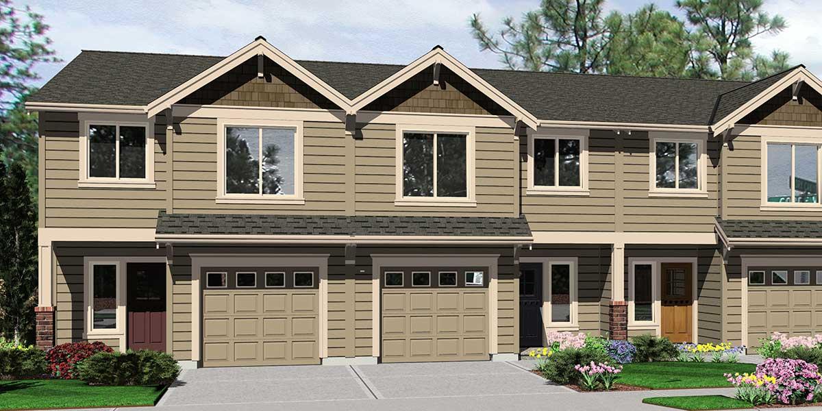 TriPlex House Plans Multi Family Homes Row House Plans