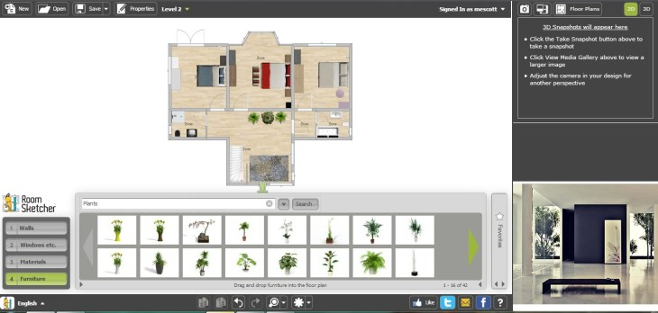 Free Floor Plan Software RoomSketcher First Floor with Furniture ...
