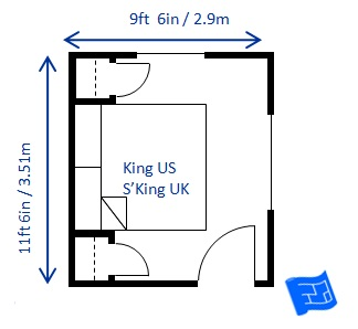 Minimum Bedroom Size For A King Bed 9ft 6in X 11ft