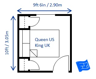Minimum Bedroom Size For A Queen Bed 9ft 6in X 10ft