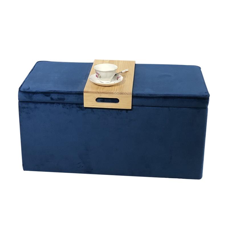 velvet storage ottoman bench with