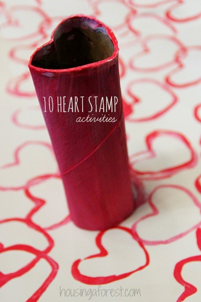 10 fun Heart Tube stamping ideas. Lots of fun Valentines Day crafts and activities.