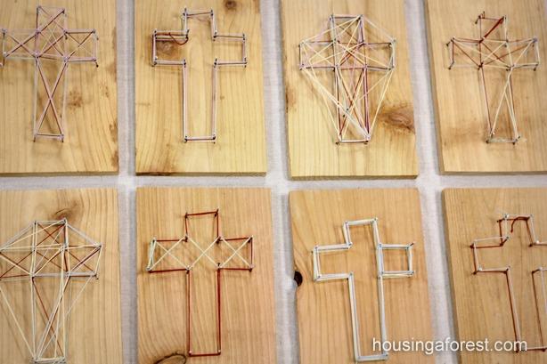 Diy Easter Cross Simple String Art For Kids
