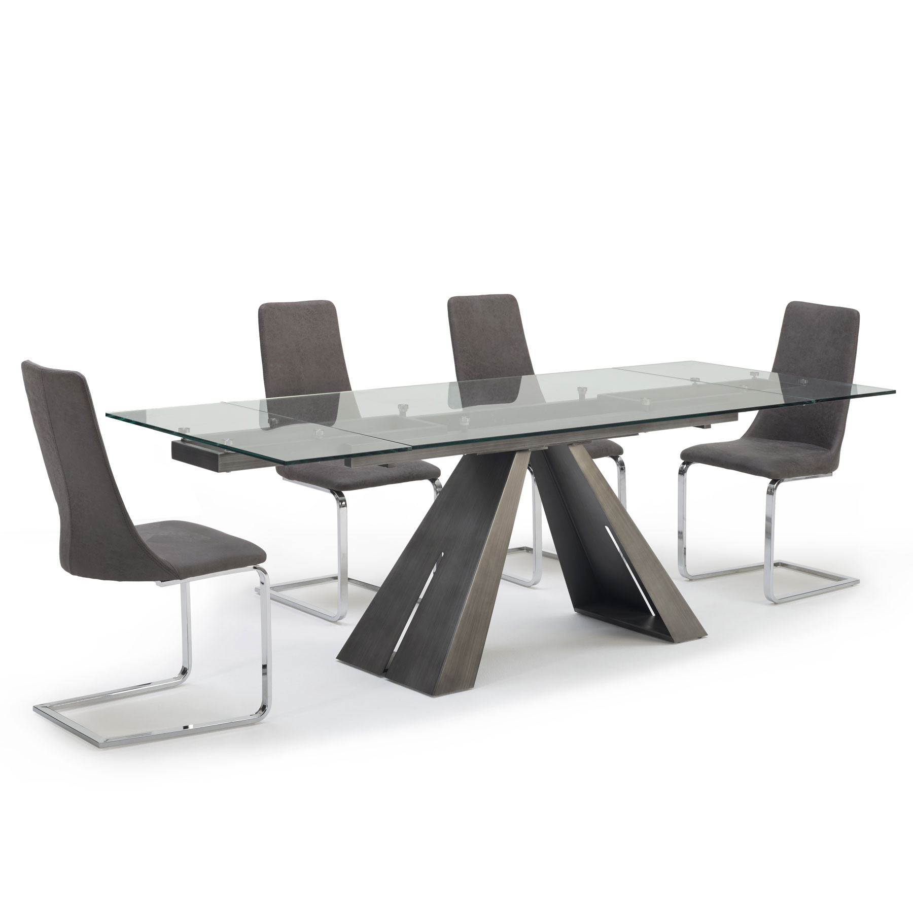 Globe Pewter Extending Dining Table 6 Chairs